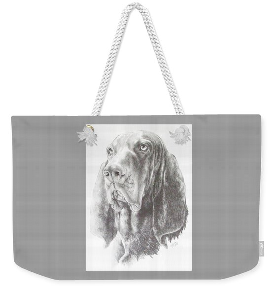 Weekender Tote Bag featuring the drawing Black And Tan Coonhound In Graphite by Barbara Keith