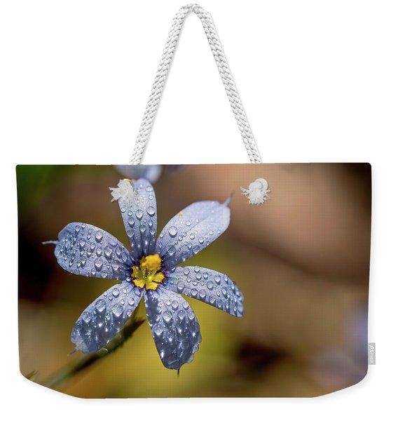 Blue Eyed Grass Flower Weekender Tote Bag