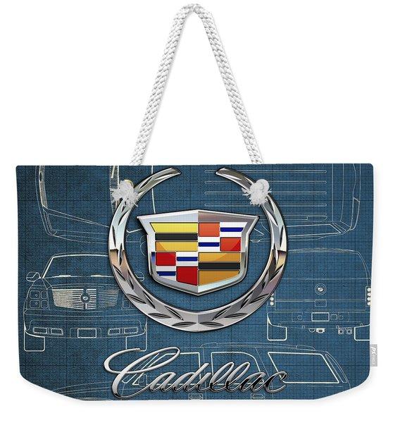 Cadillac 3 D Badge Over Cadillac Escalade Blueprint  Weekender Tote Bag