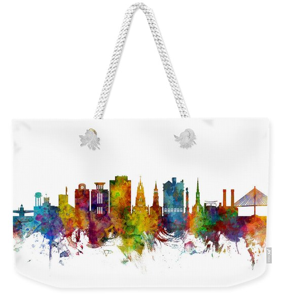 Charleston South Carolina Skyline Weekender Tote Bag
