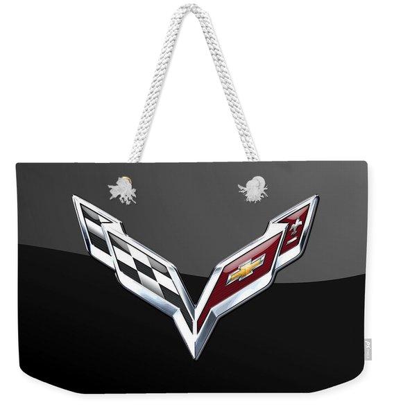 Chevrolet Corvette 3d Badge On Black Weekender Tote Bag