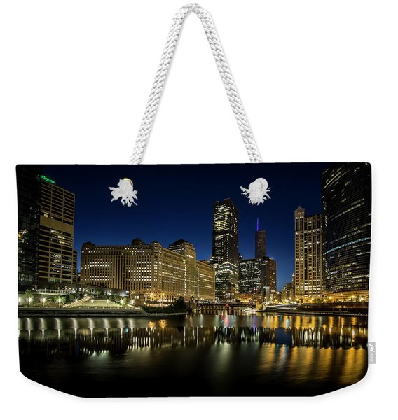 Chicago River And Skyline At Dawn Weekender Tote Bag