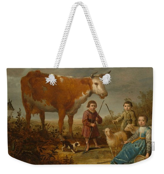 Children And A Cow Weekender Tote Bag