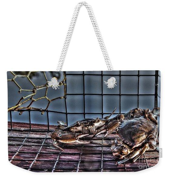 2 Crabs In Trap Weekender Tote Bag