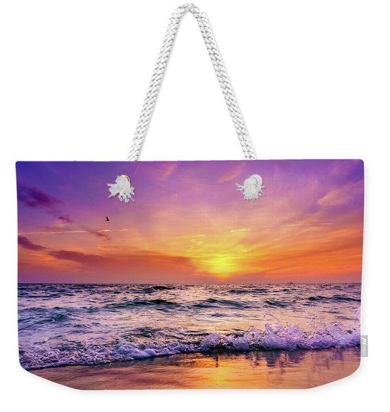 Weekender Tote Bag featuring the photograph Evening Flight by Dmytro Korol