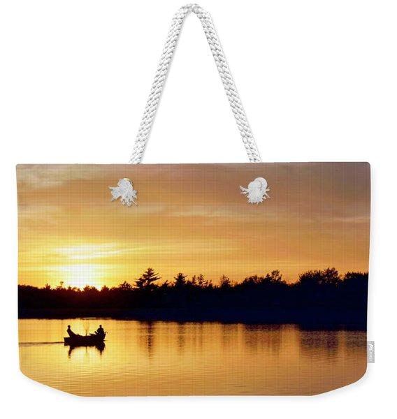 Fishermen On A Lake At Sunset Weekender Tote Bag