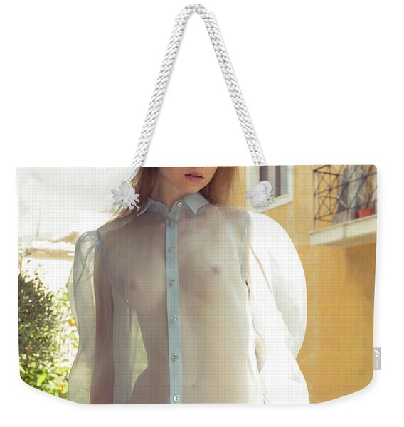 Girl On Balcony Weekender Tote Bag