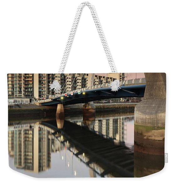 Glasgow Clyde Arc Bridge At Sunset Weekender Tote Bag