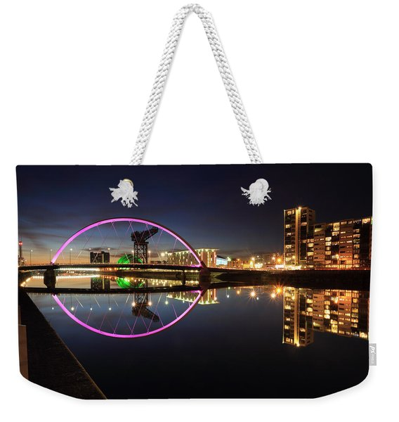 Glasgow Clyde Arc Bridge At Twilight Weekender Tote Bag