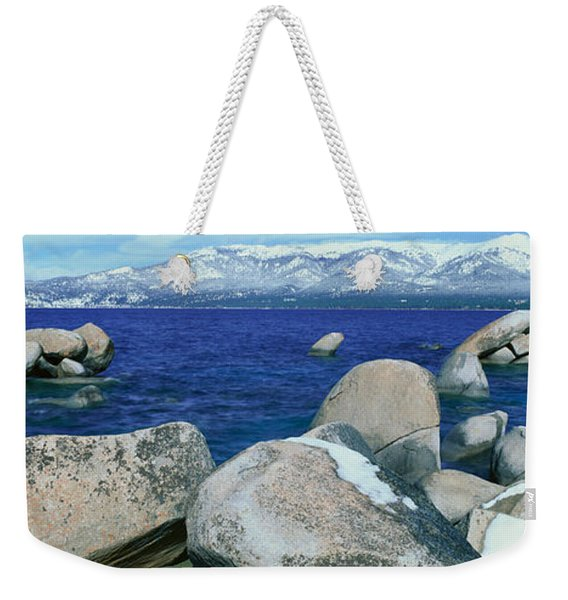 Lake Tahoe In Wintertime, Nevada Weekender Tote Bag