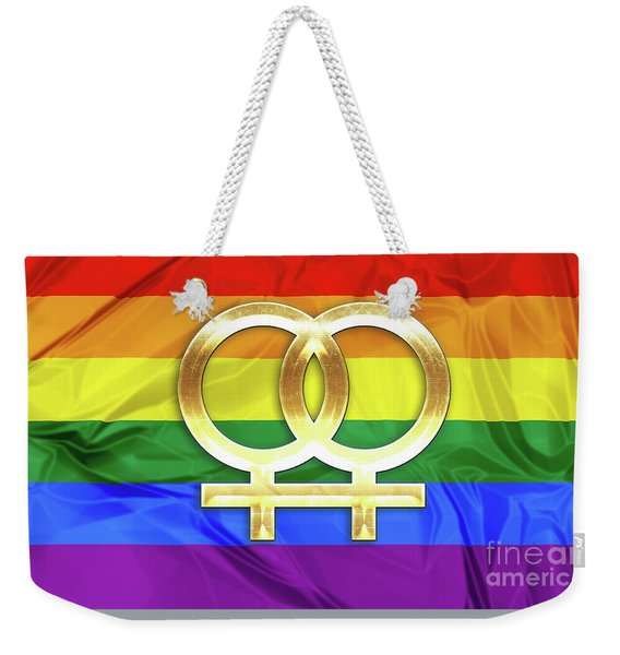 Weekender Tote Bag featuring the digital art Lesbian Symbols by Benny Marty