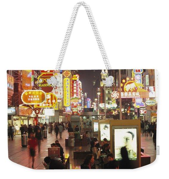 Neon Signs In Nanjing Lu, Shanghais Weekender Tote Bag