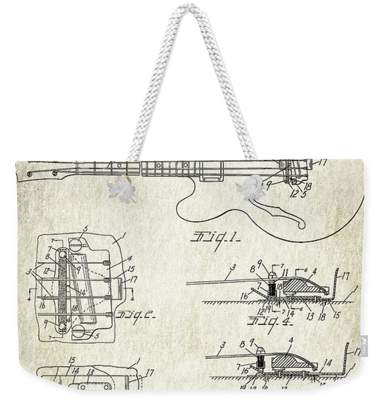 Patent Drawing For The 1960 Mute Means For String Musical Instruments By L. P. Allers Weekender Tote Bag
