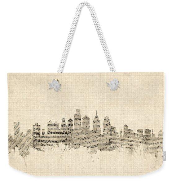 Philadelphia Pennsylvania Skyline Sheet Music Cityscape Weekender Tote Bag