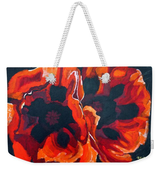 Weekender Tote Bag featuring the painting 2 Poppies by Richard Le Page