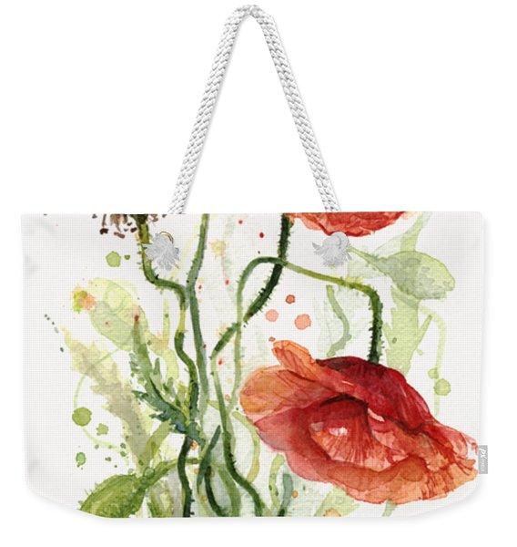 Red Poppies Watercolor Weekender Tote Bag