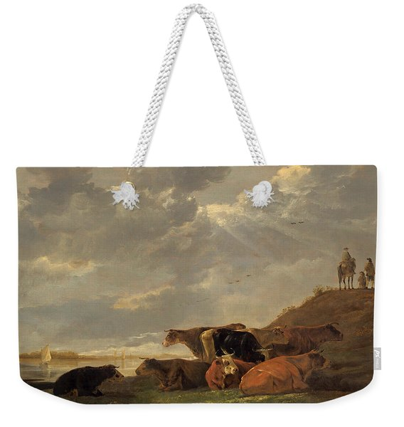 River Landscape With Cows Weekender Tote Bag