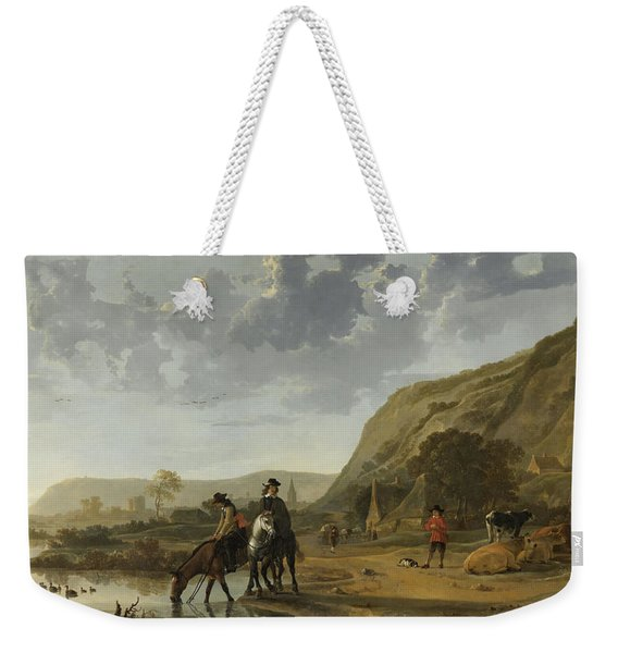 River Landscape With Riders Weekender Tote Bag
