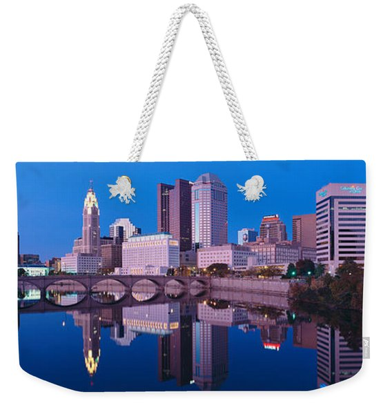 Scioto River And Columbus Ohio Skyline Weekender Tote Bag