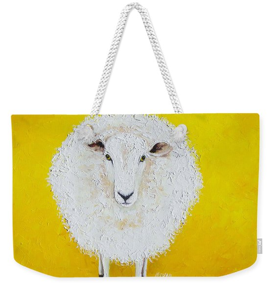 Sheep Painting On Yellow Background Weekender Tote Bag