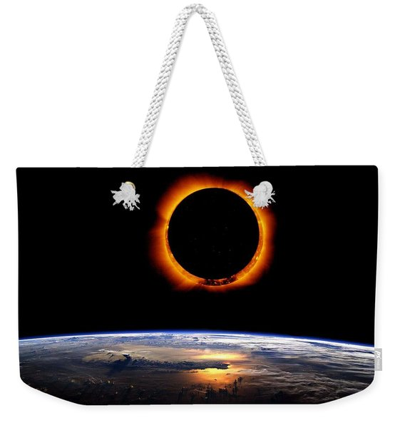 Solar Eclipse From Above The Earth Weekender Tote Bag