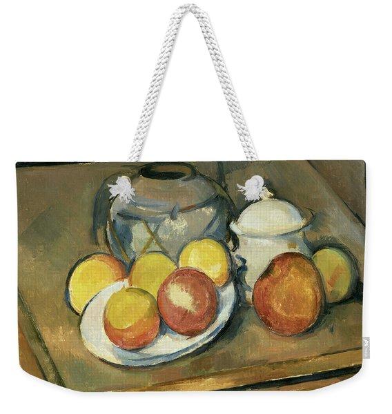 Straw-trimmed Vase, Sugar Bowl And Apples Weekender Tote Bag