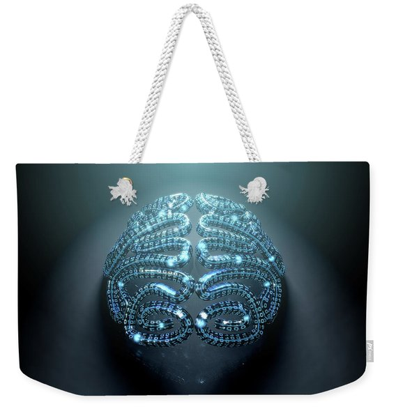 Stylized Artificial Intelligence Brain Weekender Tote Bag