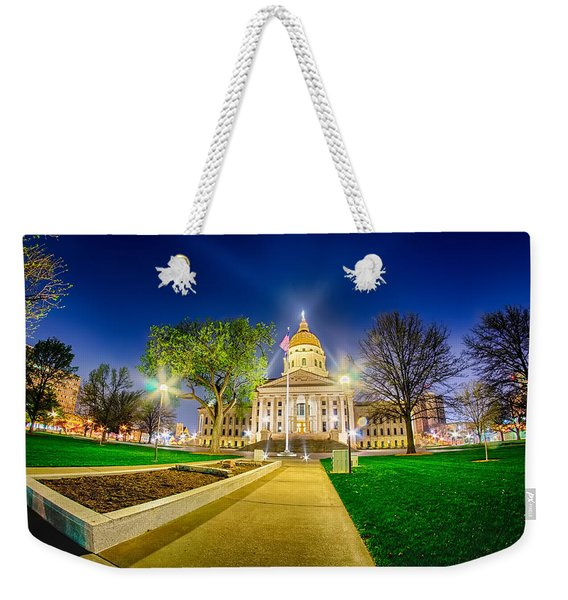 Topeka Kansas Downtown At Night Weekender Tote Bag