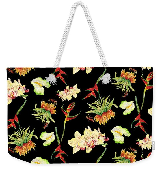 Tropical Island Floral Half Drop Pattern Weekender Tote Bag
