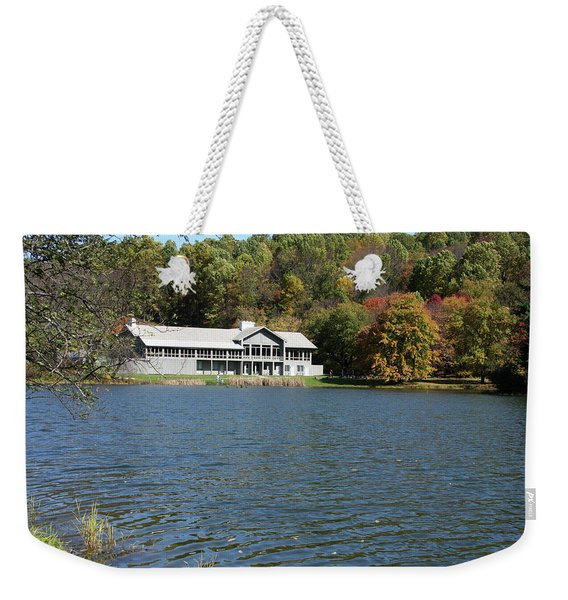 View Of Peaks Of Otter Lodge And Abbott Lake  In Autumn Weekender Tote Bag
