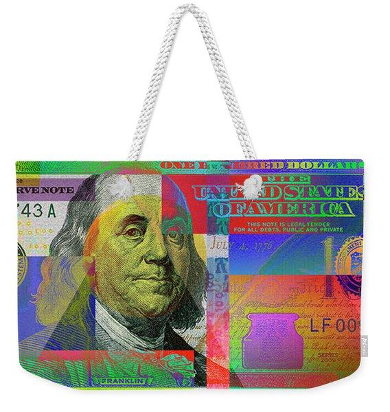 2009 Series Pop Art Colorized U. S. One Hundred Dollar Bill No. 1 Weekender Tote Bag