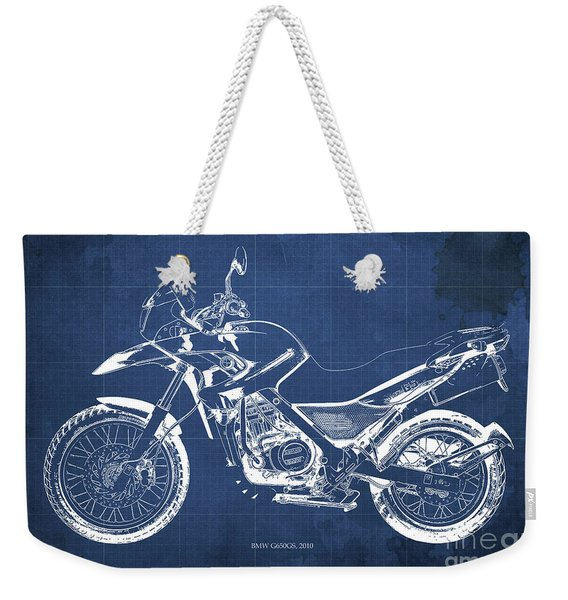 2010 Bmw G650gs Vintage Blueprint Blue Background Weekender Tote Bag