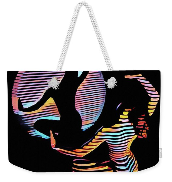 2039s-mak Female Figure In Spotlight Rendered In Composition Style Weekender Tote Bag