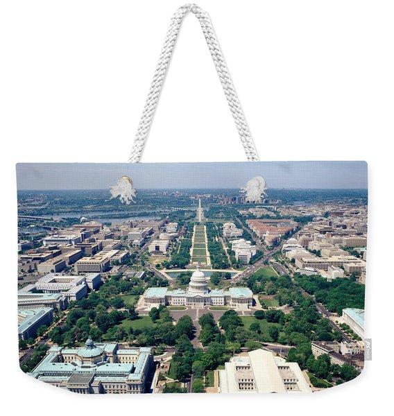 Aerial View Of Buildings In A City Weekender Tote Bag