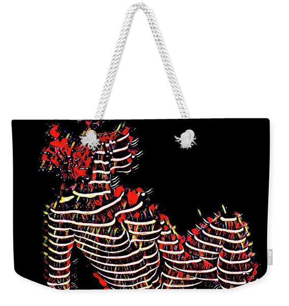 2450s-mak Lined By Light Nude Woman Rendered As Abstract Oil Painting Weekender Tote Bag