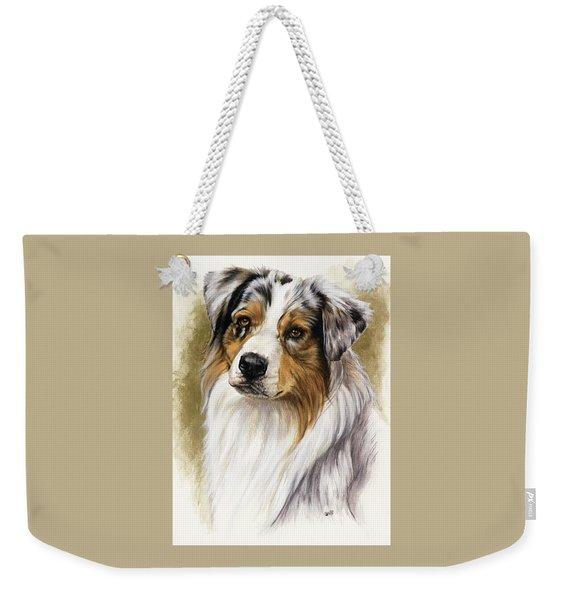 Weekender Tote Bag featuring the mixed media Australian Shepherd by Barbara Keith