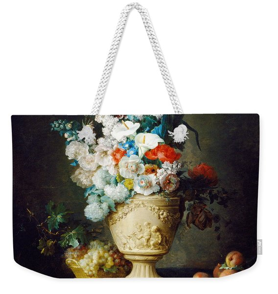 Bouquet Of Flowers In A Terracotta Vase  With Peaches And Grapes Weekender Tote Bag