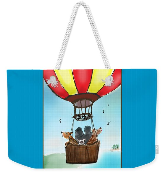 3 Dogs Singing In A Hot Air Balloon Weekender Tote Bag