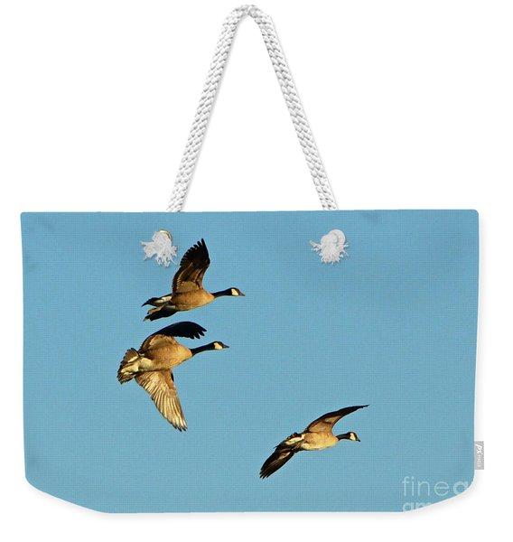 3 Geese In Flight Weekender Tote Bag