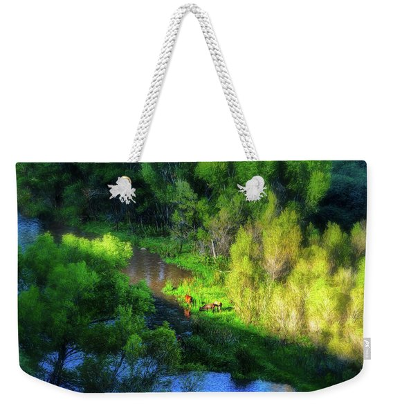 3 Horses Grazing On The Bank Of The Verde River Weekender Tote Bag