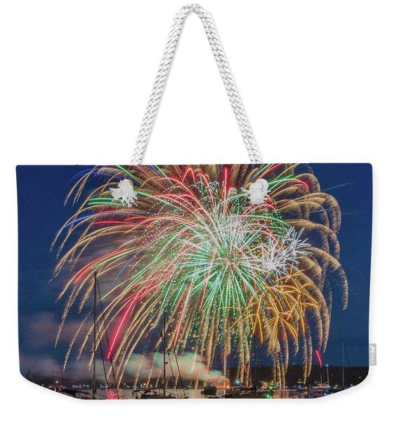 Independence Day Fireworks In Boothbay Harbor Weekender Tote Bag