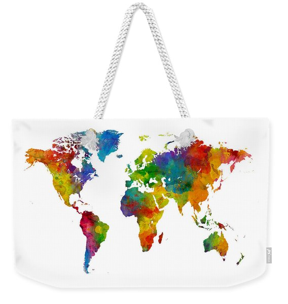 Map Of The World Map Watercolor Weekender Tote Bag