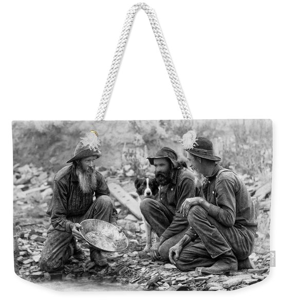 3 Men And A Dog Panning For Gold C. 1889 Weekender Tote Bag