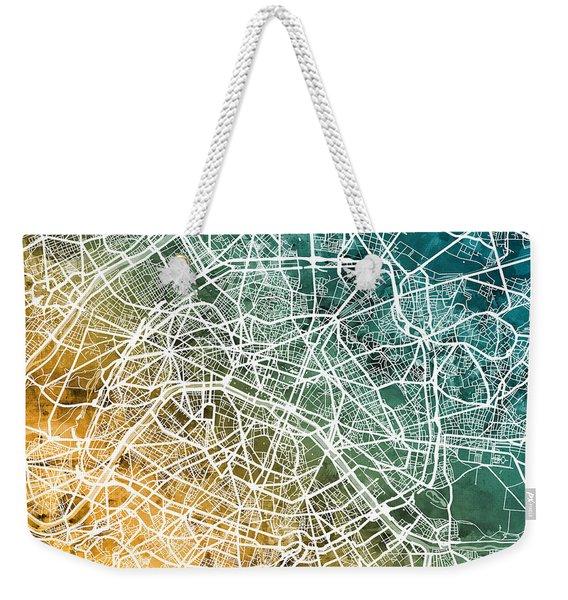 Paris France City Street Map Weekender Tote Bag