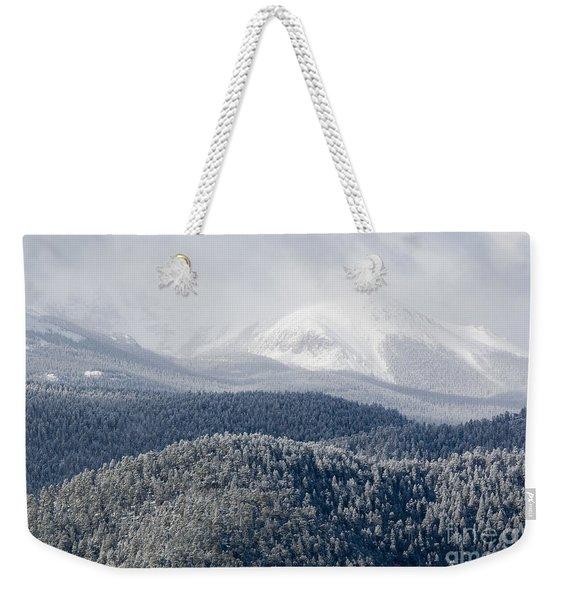 Pikes Peak In Snow Weekender Tote Bag