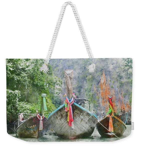Traditional Long Boat In Thailand Weekender Tote Bag