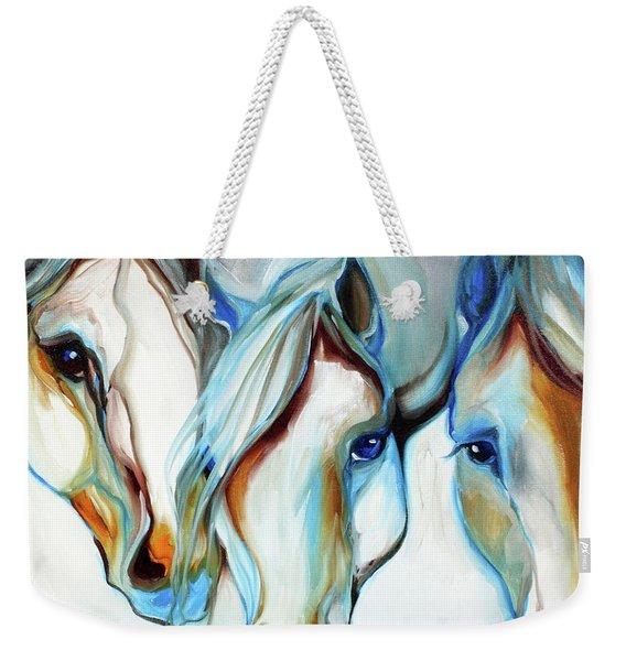 3 Wild Horses In Abstract Weekender Tote Bag