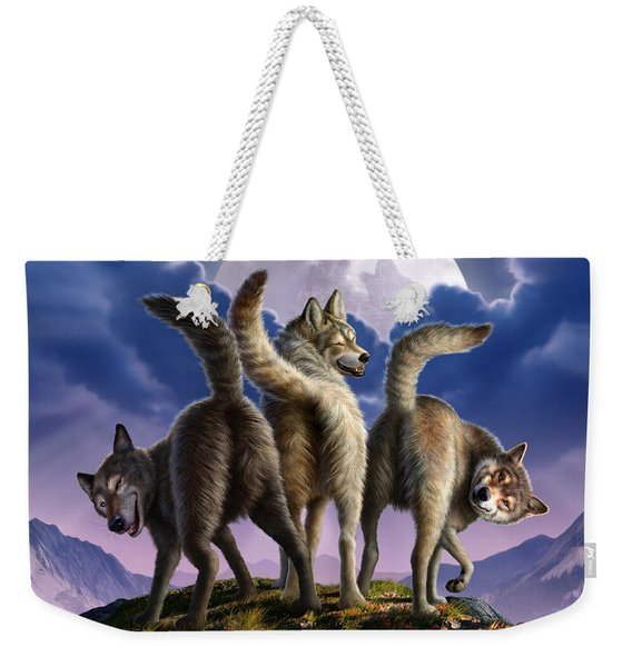 3 Wolves Mooning Weekender Tote Bag