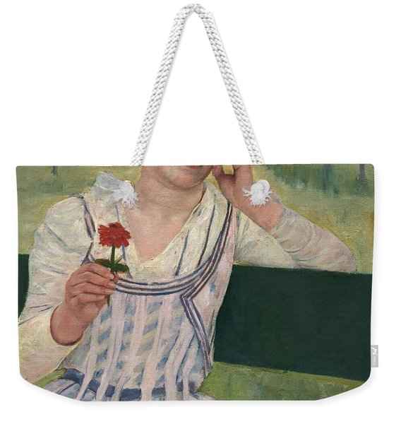 Woman With A Red Zinnia Weekender Tote Bag