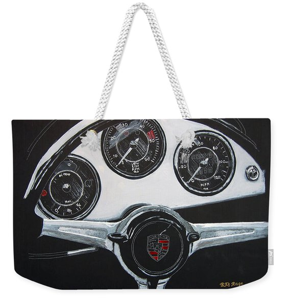 Weekender Tote Bag featuring the painting 356 Porsche Dash by Richard Le Page